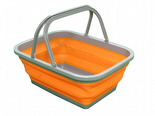 16 Litre Collapsible Hand Basket With Handles - Folding Camping Caravan Clothes Car Garden